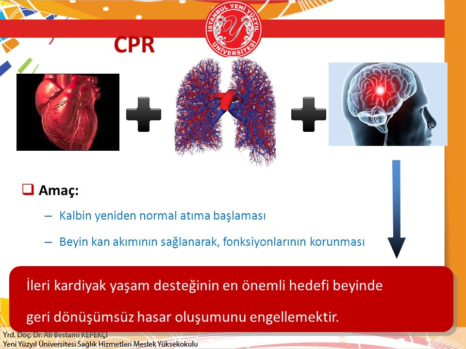 CPR Amaç: İleri kardiyak yaşam desteğinin en önemli hedefi beyinde