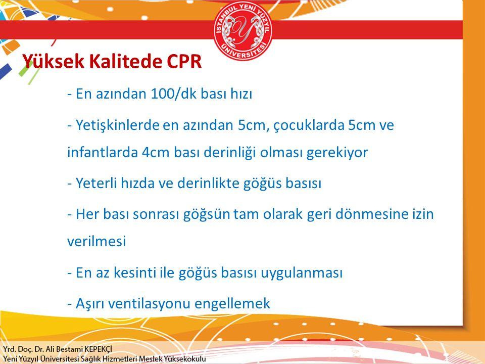 Yüksek Kalitede CPR - En azından 100/dk bası hızı