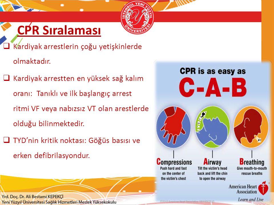 CPR Sıralaması Kardiyak arrestlerin çoğu yetişkinlerde olmaktadır.
