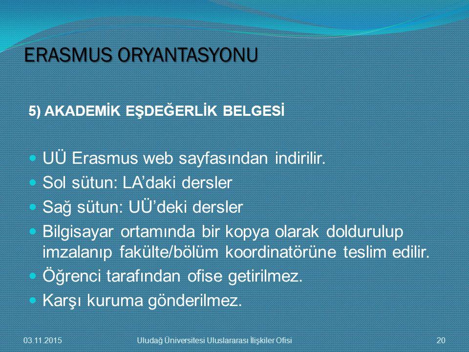 ERASMUS ORYANTASYONU UÜ Erasmus web sayfasından indirilir.