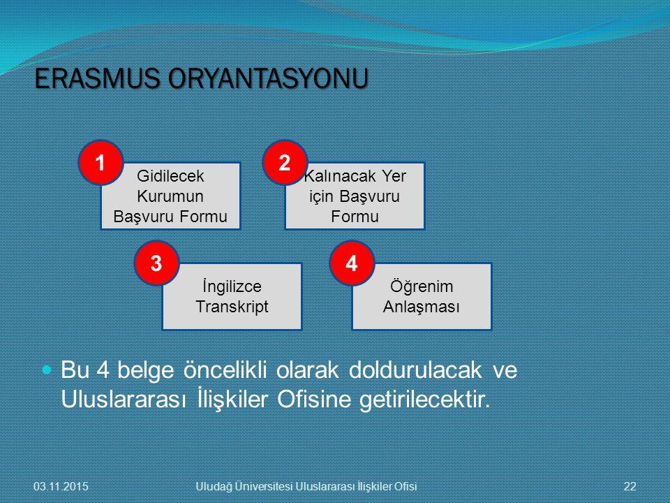 ERASMUS ORYANTASYONU Bu 4 belge öncelikli olarak doldurulacak ve Uluslararası İlişkiler Ofisine getirilecektir.