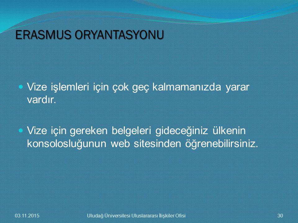 ERASMUS ORYANTASYONU Vize işlemleri için çok geç kalmamanızda yarar vardır.