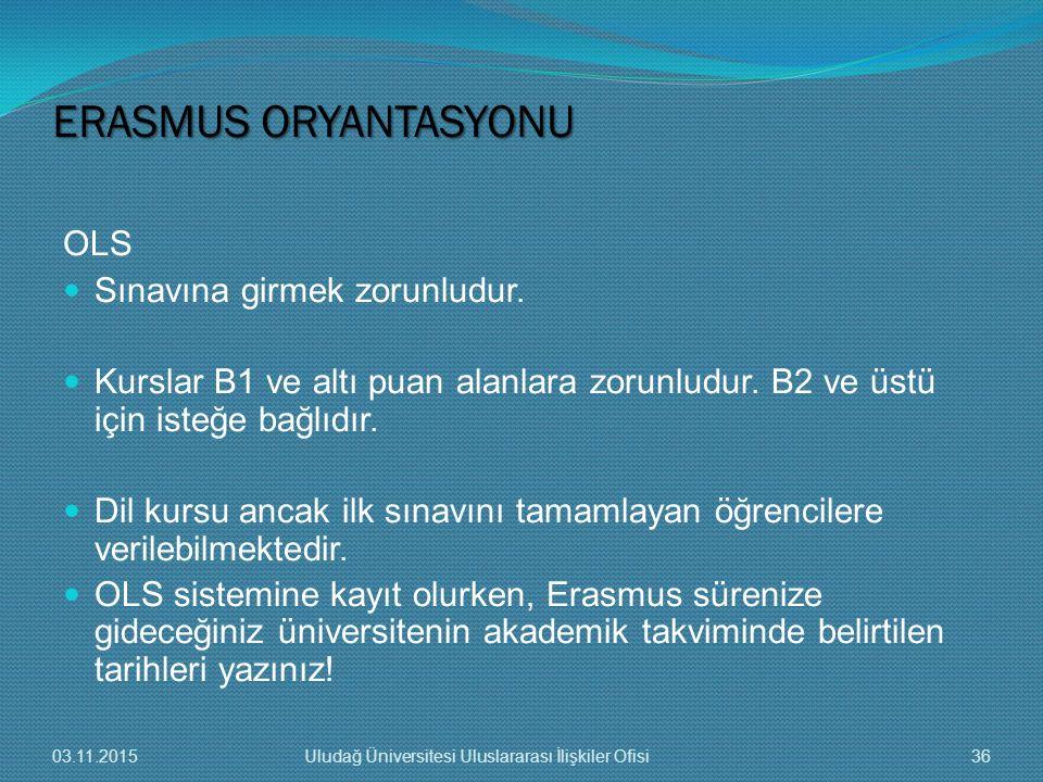 ERASMUS ORYANTASYONU OLS Sınavına girmek zorunludur.