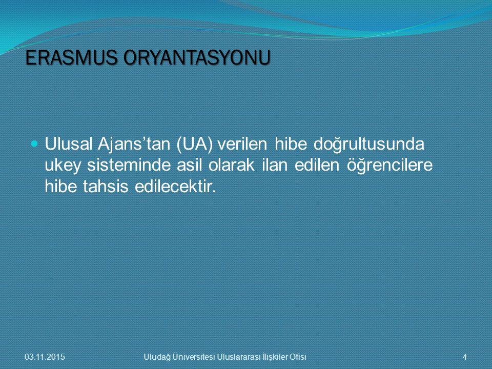 ERASMUS ORYANTASYONU Ulusal Ajans'tan (UA) verilen hibe doğrultusunda ukey sisteminde asil olarak ilan edilen öğrencilere hibe tahsis edilecektir.
