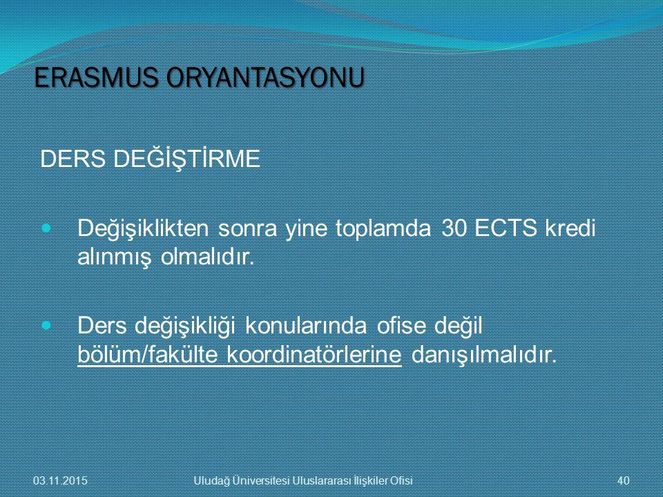 ERASMUS ORYANTASYONU DERS DEĞİŞTİRME
