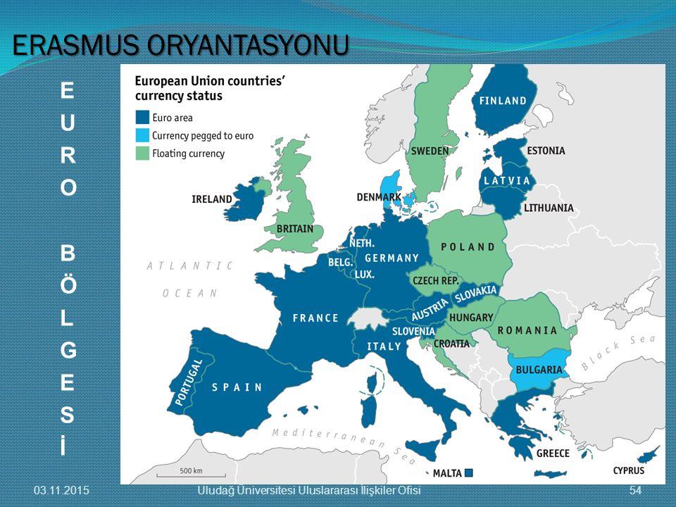 ERASMUS ORYANTASYONU E U R O B Ö L G S İ 03.11.2015