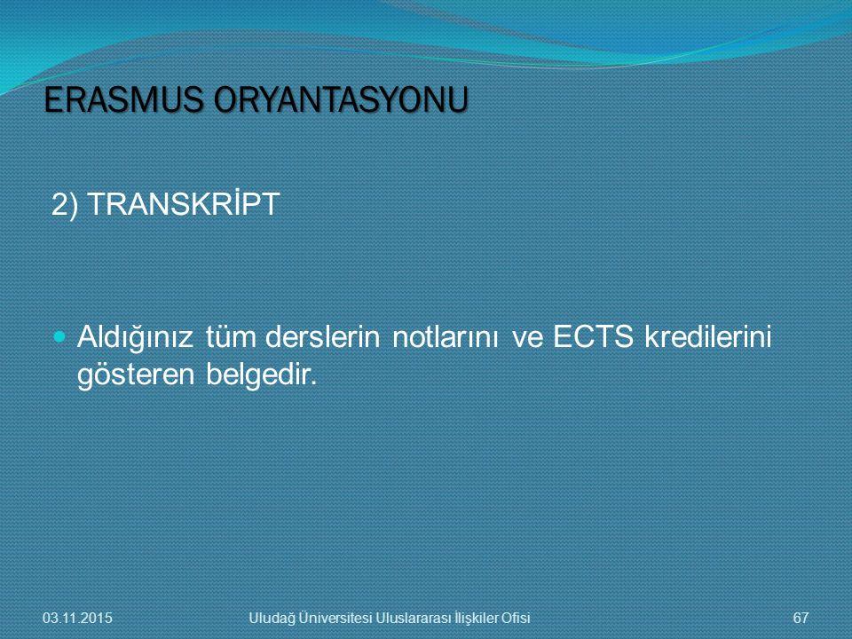 ERASMUS ORYANTASYONU 2) TRANSKRİPT