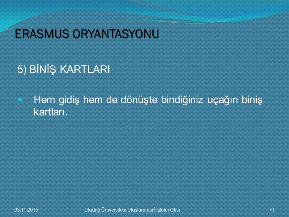 ERASMUS ORYANTASYONU 5) BİNİŞ KARTLARI