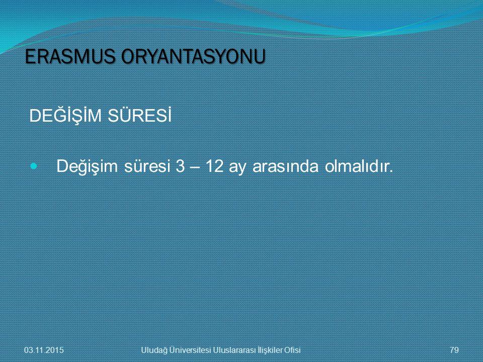 ERASMUS ORYANTASYONU DEĞİŞİM SÜRESİ