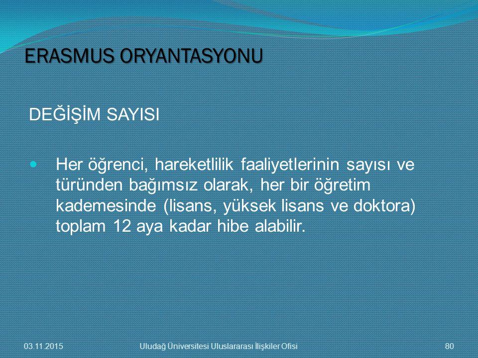 ERASMUS ORYANTASYONU DEĞİŞİM SAYISI
