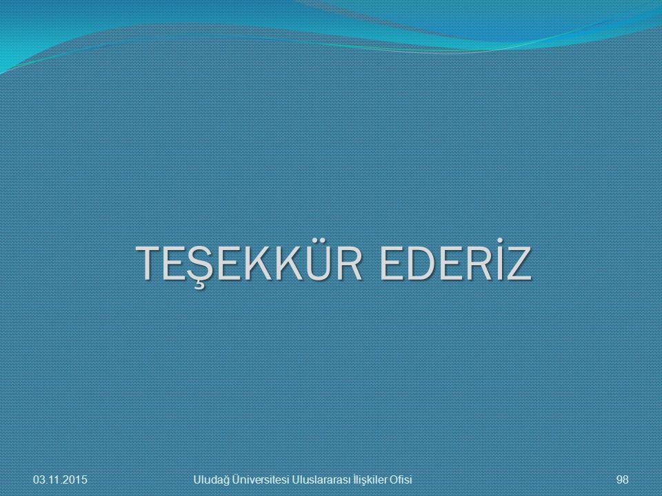 TEŞEKKÜR EDERİZ 03.11.2015 Uludağ Üniversitesi Uluslararası İlişkiler Ofisi