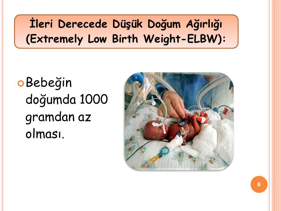 İleri Derecede Düşük Doğum Ağırlığı (Extremely Low Birth Weight-ELBW):