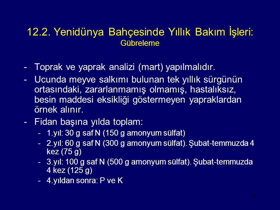 12.2. Yenidünya Bahçesinde Yıllık Bakım İşleri: Gübreleme