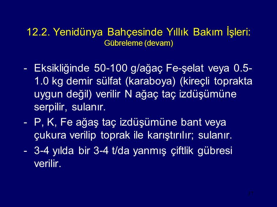 12.2. Yenidünya Bahçesinde Yıllık Bakım İşleri: Gübreleme (devam)
