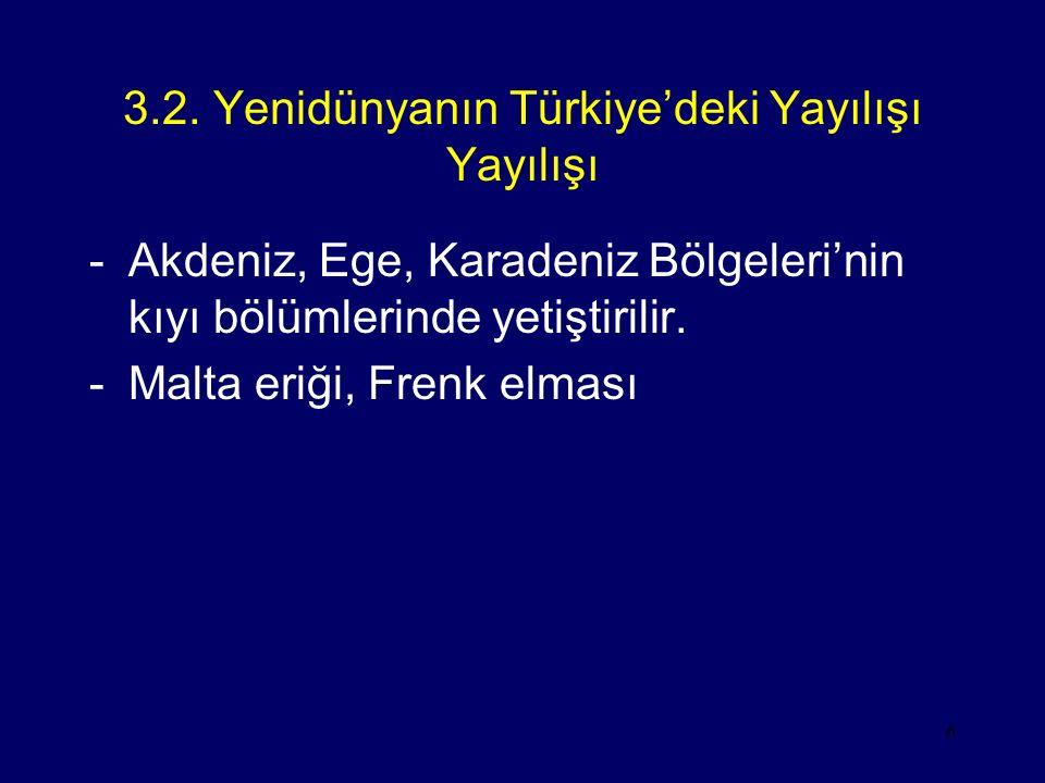 3.2. Yenidünyanın Türkiye'deki Yayılışı Yayılışı