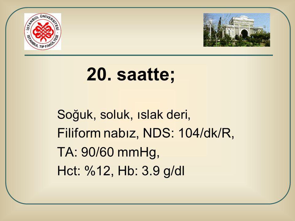 Filiform nabız, NDS: 104/dk/R, TA: 90/60 mmHg, Hct: %12, Hb: 3.9 g/dl