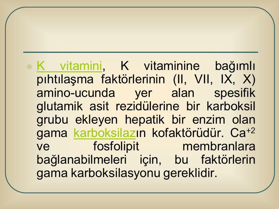 K vitamini, K vitaminine bağımlı pıhtılaşma faktörlerinin (II, VII, IX, X) amino-ucunda yer alan spesifik glutamik asit rezidülerine bir karboksil grubu ekleyen hepatik bir enzim olan gama karboksilazın kofaktörüdür.