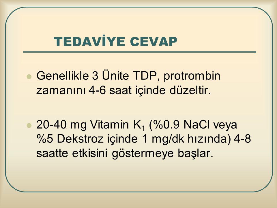 TEDAVİYE CEVAP Genellikle 3 Ünite TDP, protrombin zamanını 4-6 saat içinde düzeltir.