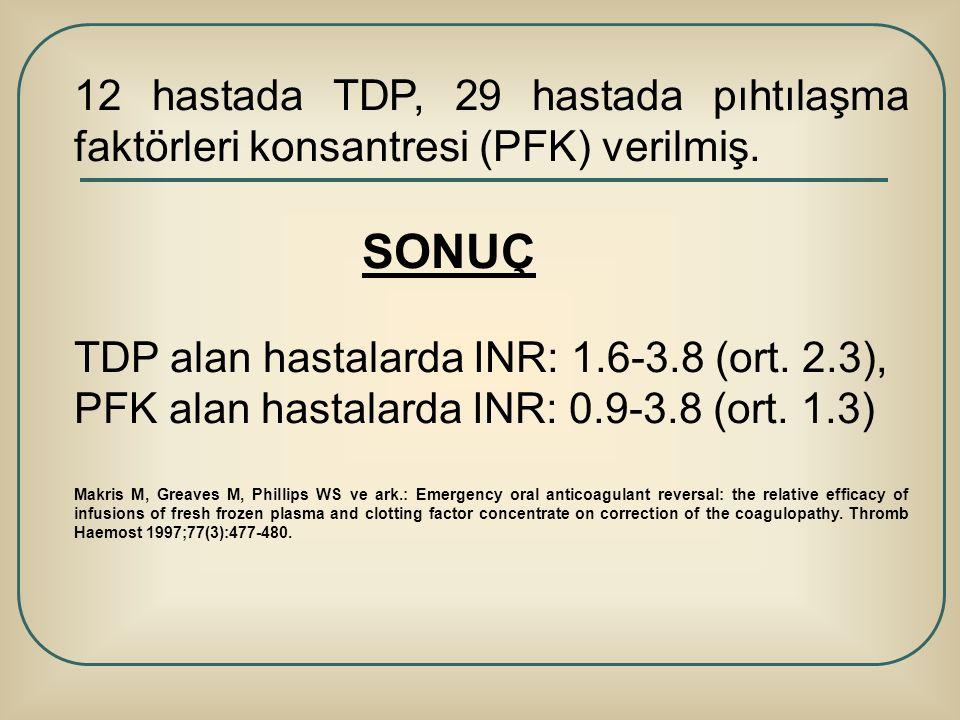 TDP alan hastalarda INR: 1.6-3.8 (ort. 2.3),
