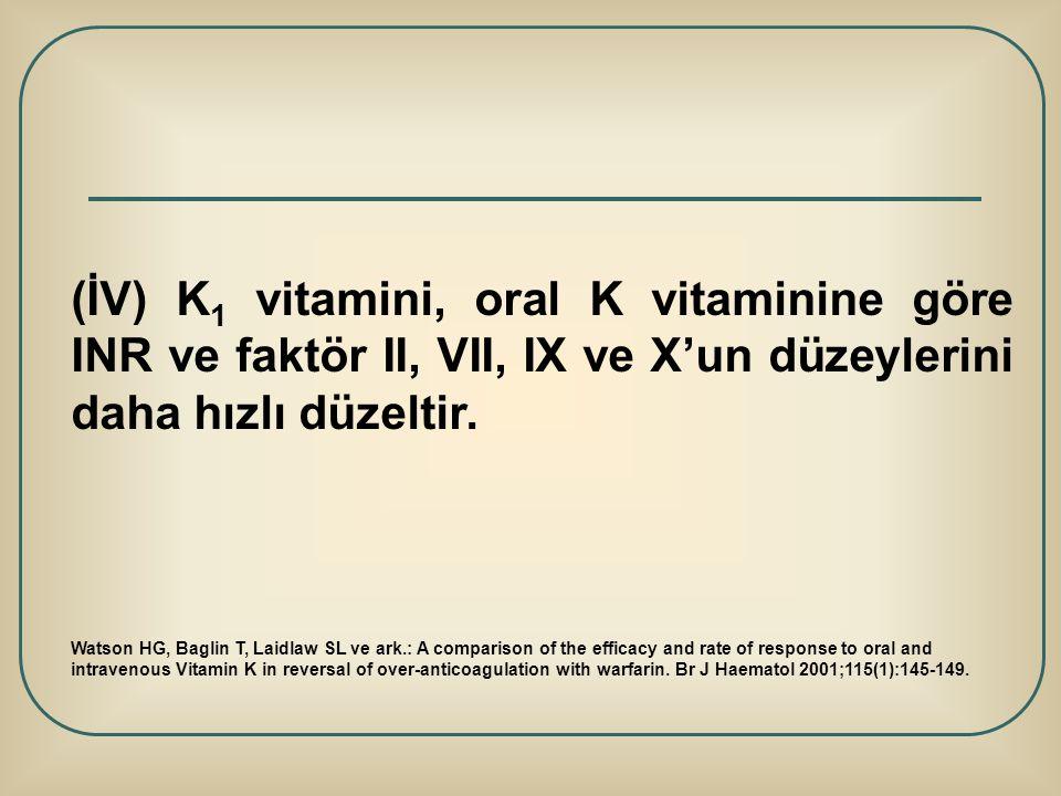 (İV) K1 vitamini, oral K vitaminine göre INR ve faktör II, VII, IX ve X'un düzeylerini daha hızlı düzeltir.