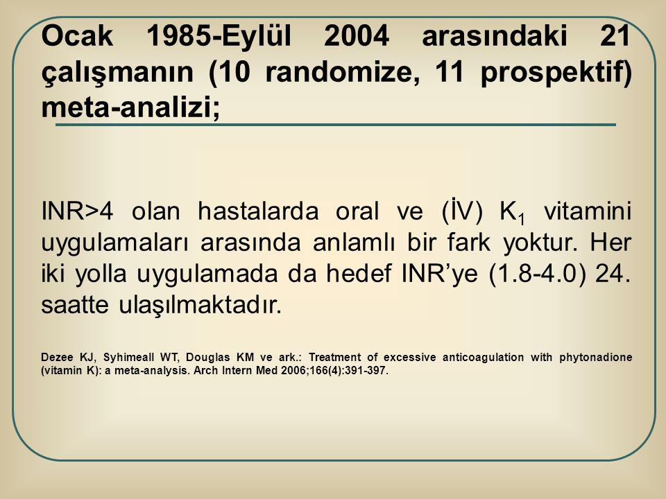 Ocak 1985-Eylül 2004 arasındaki 21 çalışmanın (10 randomize, 11 prospektif) meta-analizi;
