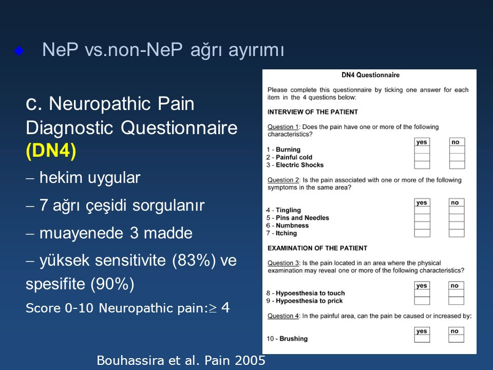 c. Neuropathic Pain Diagnostic Questionnaire (DN4)