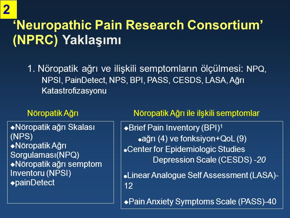 'Neuropathic Pain Research Consortium' (NPRC) Yaklaşımı