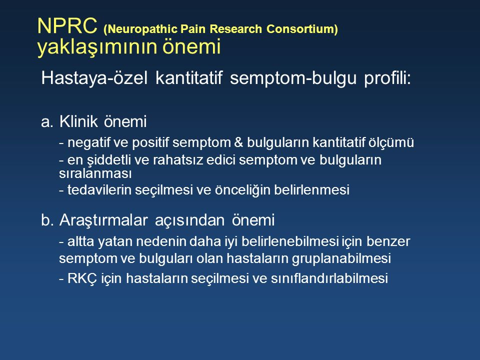 NPRC (Neuropathic Pain Research Consortium) yaklaşımının önemi
