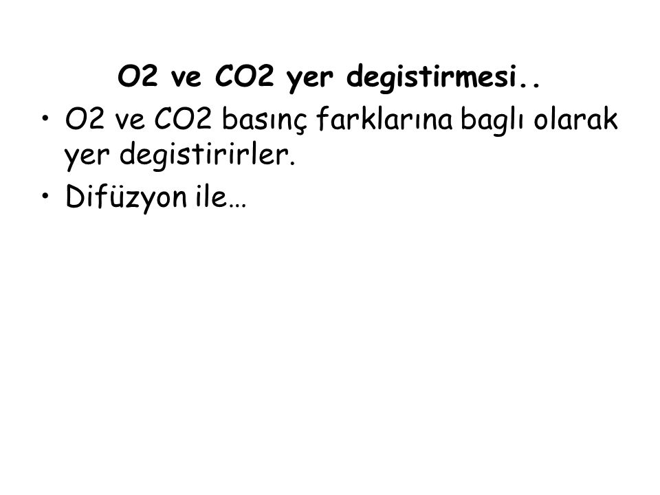 O2 ve CO2 yer degistirmesi..