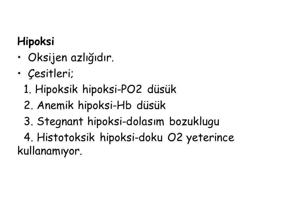 Hipoksi Oksijen azlığıdır. Çesitleri; 1. Hipoksik hipoksi-PO2 düsük. 2. Anemik hipoksi-Hb düsük.