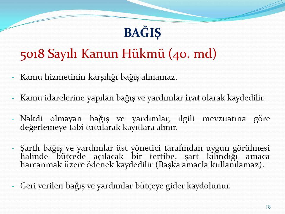 BAĞIŞ 5018 Sayılı Kanun Hükmü (40. md)