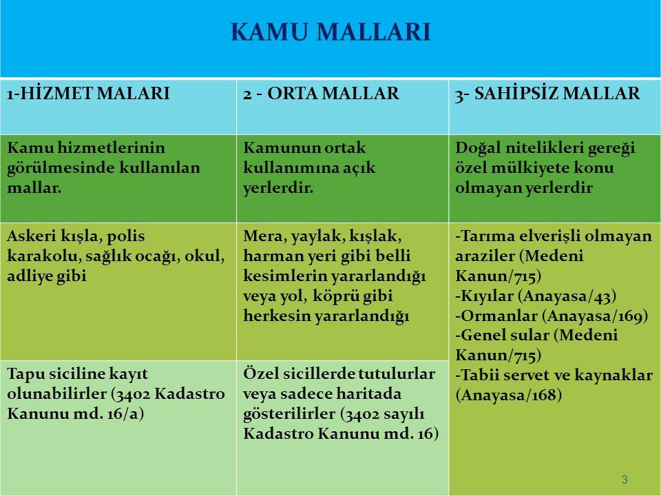 KAMU MALLARI 1-HİZMET MALARI 2 - ORTA MALLAR 3- SAHİPSİZ MALLAR