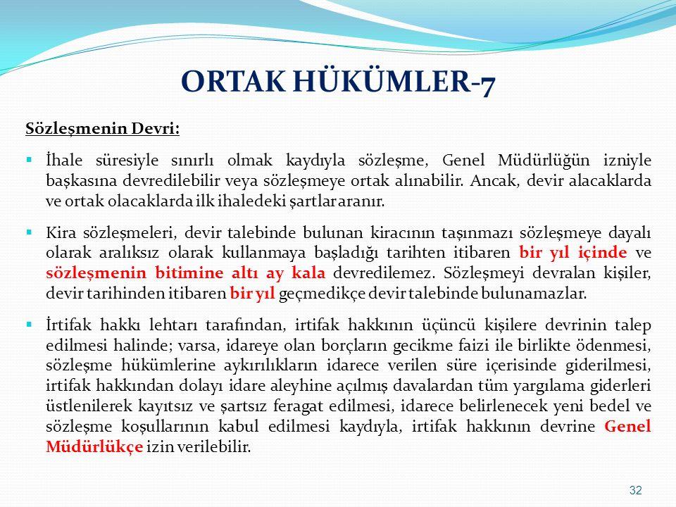 ORTAK HÜKÜMLER-7 Sözleşmenin Devri: