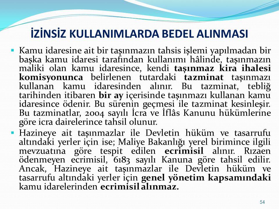 İZİNSİZ KULLANIMLARDA BEDEL ALINMASI