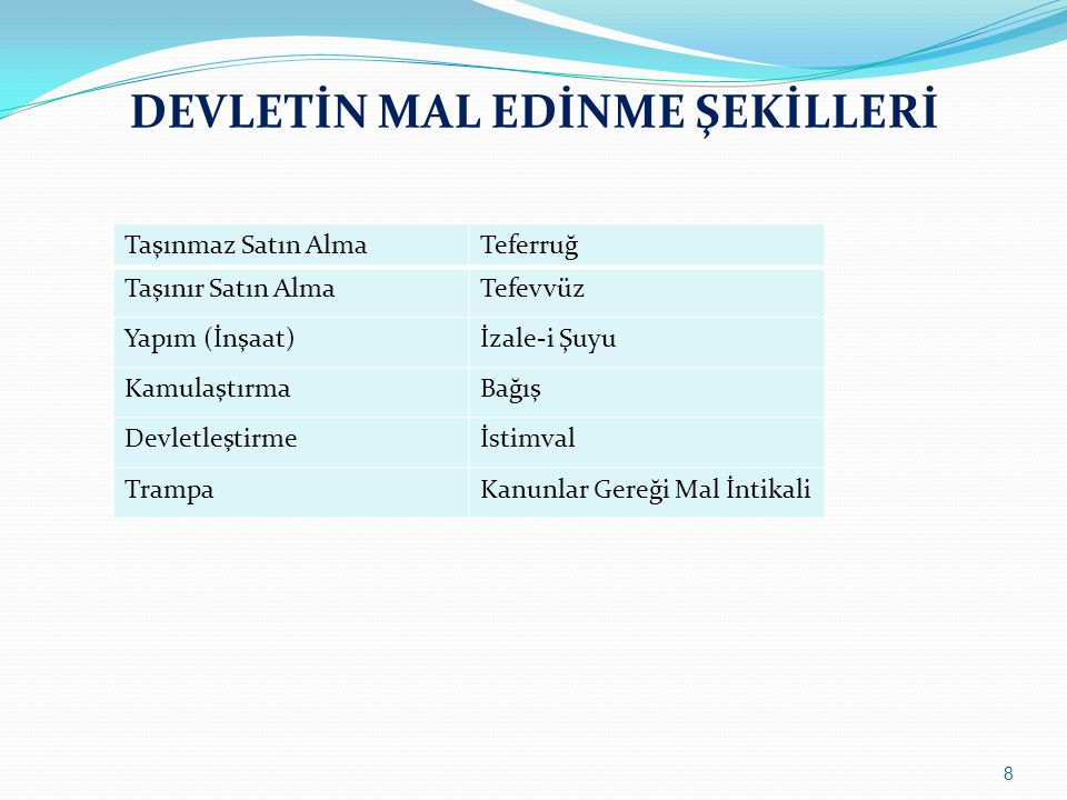 DEVLETİN MAL EDİNME ŞEKİLLERİ