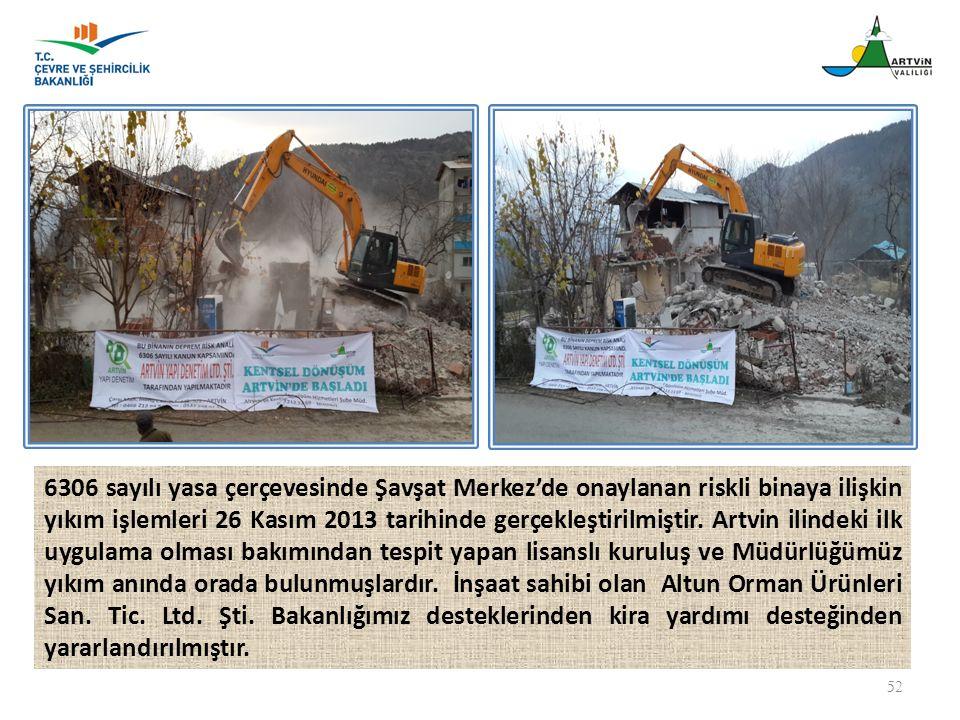 6306 sayılı yasa çerçevesinde Şavşat Merkez'de onaylanan riskli binaya ilişkin yıkım işlemleri 26 Kasım 2013 tarihinde gerçekleştirilmiştir.