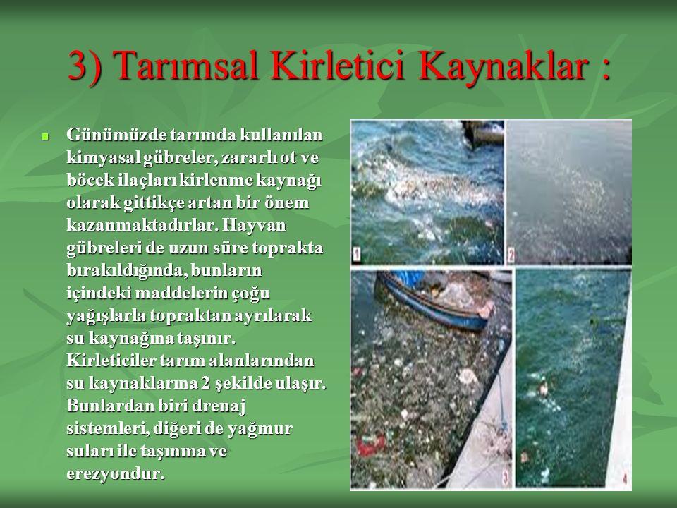 3) Tarımsal Kirletici Kaynaklar :