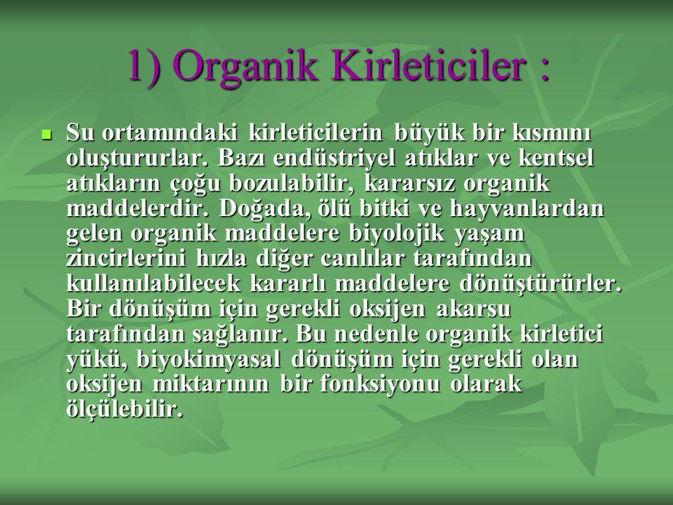 1) Organik Kirleticiler :