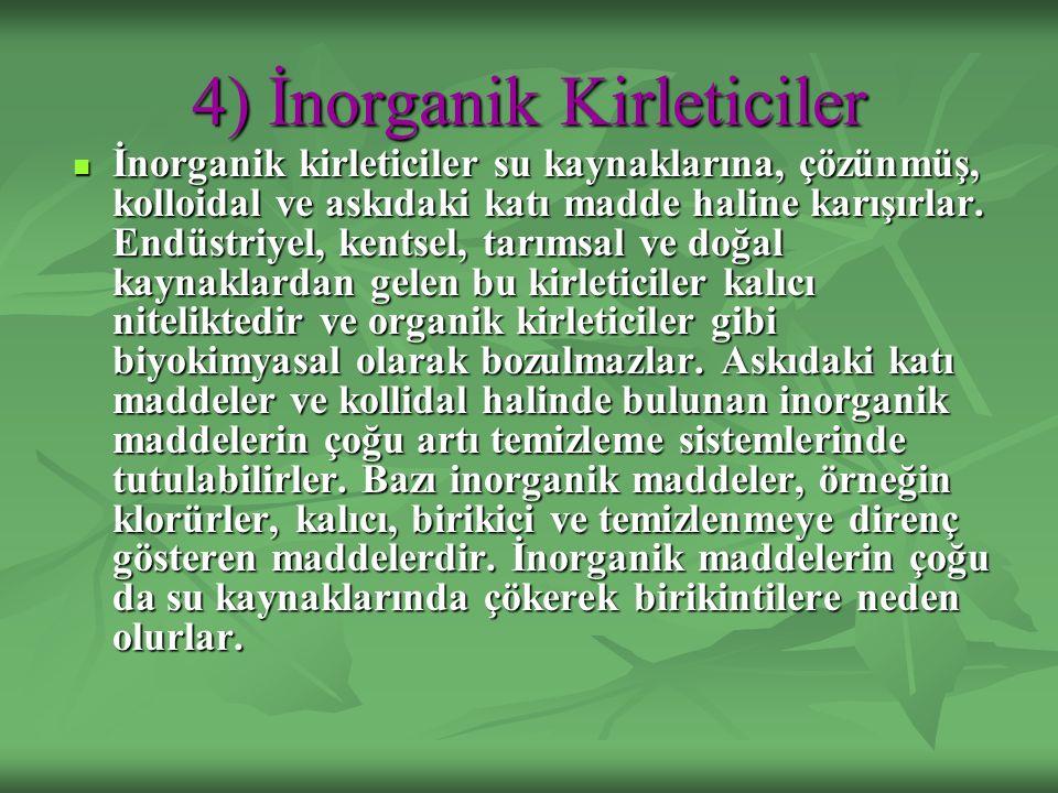 4) İnorganik Kirleticiler