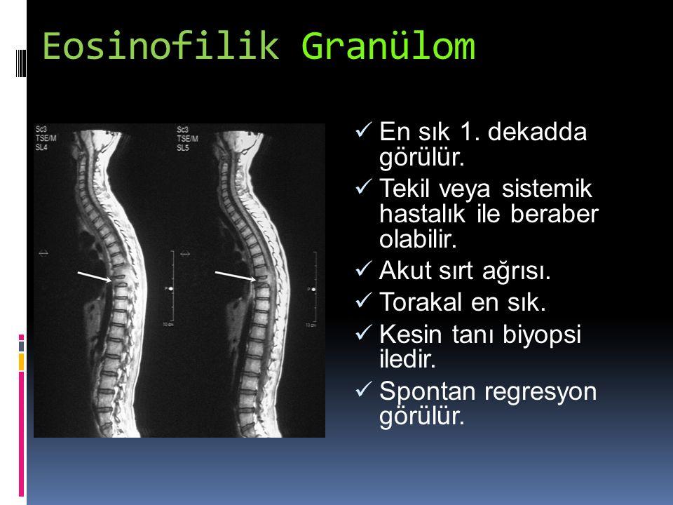 Eosinofilik Granülom En sık 1. dekadda görülür.