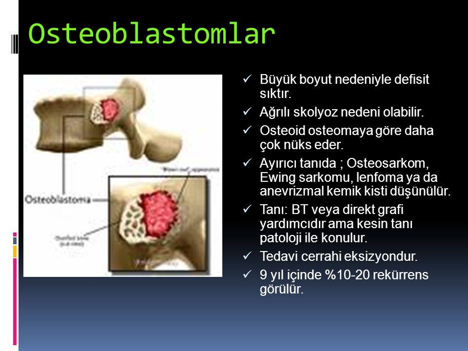 Osteoblastomlar Büyük boyut nedeniyle defisit sıktır.