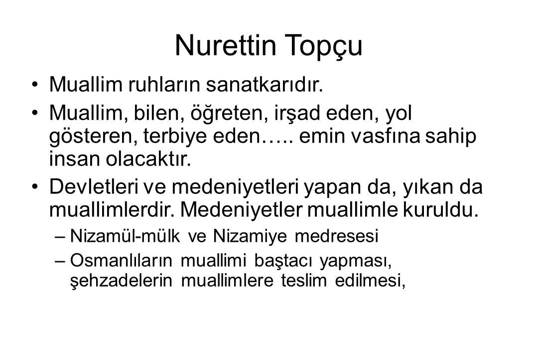 Nurettin Topçu Muallim ruhların sanatkarıdır.