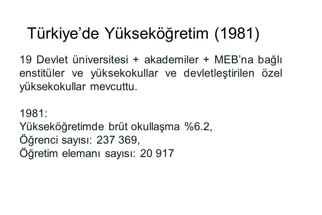 Türkiye'de Yükseköğretim (1981)