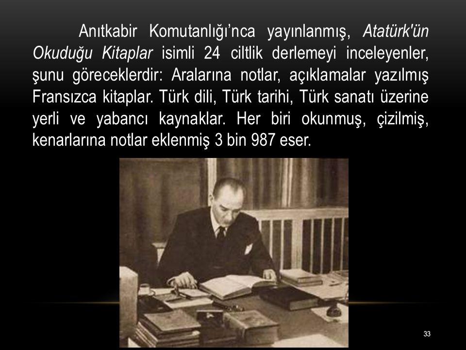 Anıtkabir Komutanlığı'nca yayınlanmış, Atatürk ün Okuduğu Kitaplar isimli 24 ciltlik derlemeyi inceleyenler, şunu göreceklerdir: Aralarına notlar, açıklamalar yazılmış Fransızca kitaplar.