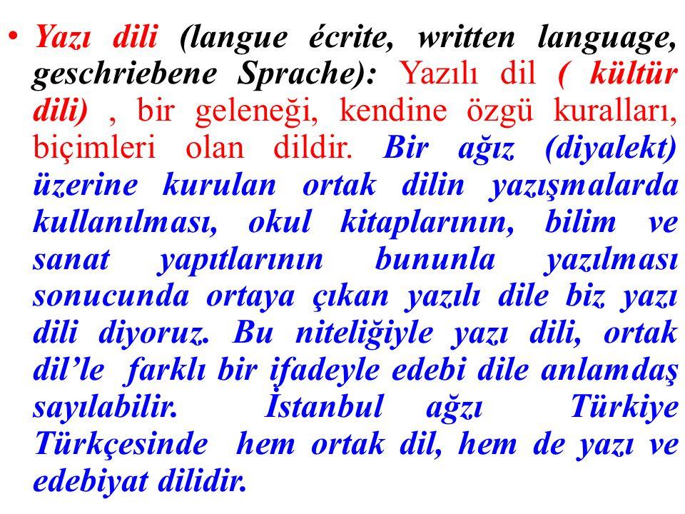 Yazı dili (langue écrite, written language, geschriebene Sprache): Yazılı dil ( kültür dili) , bir geleneği, kendine özgü kuralları, biçimleri olan dildir.