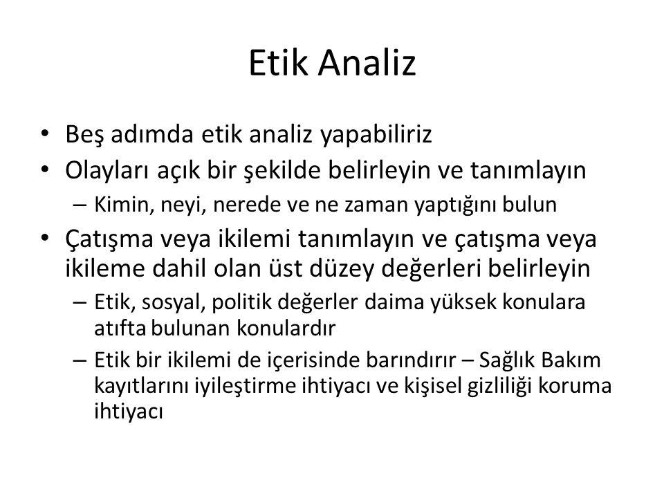 Etik Analiz Beş adımda etik analiz yapabiliriz