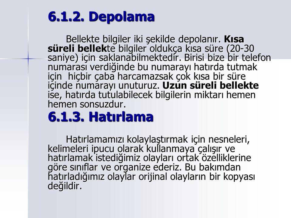 6.1.2. Depolama