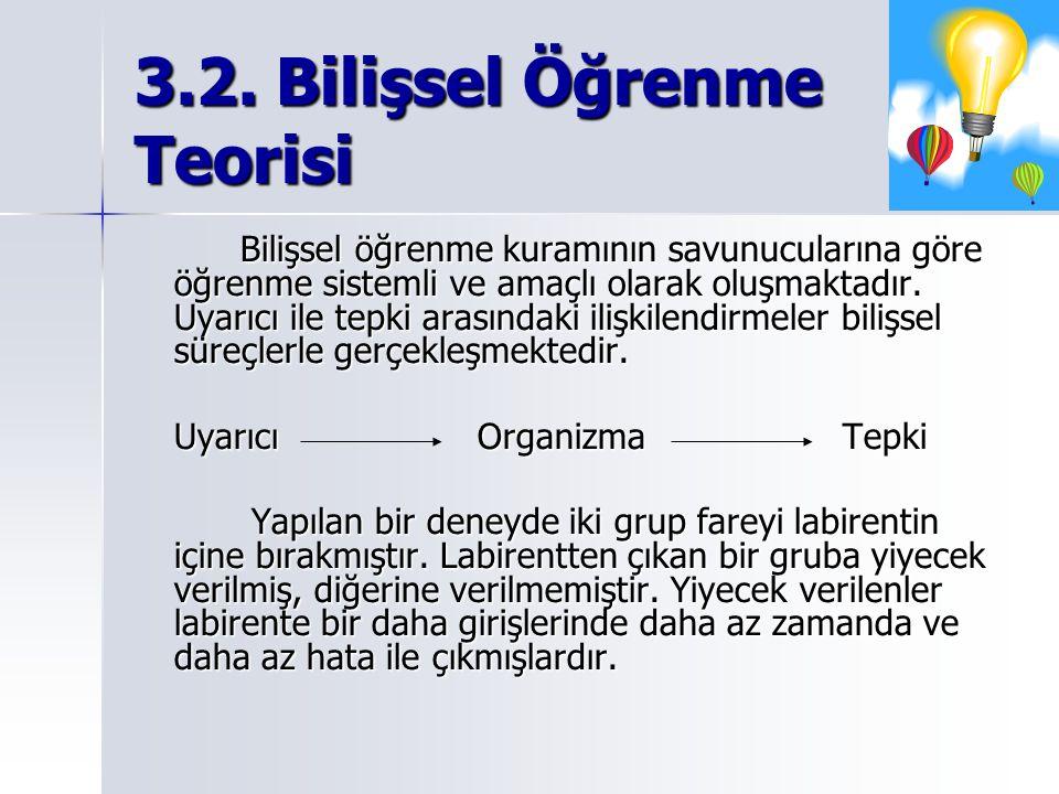 3.2. Bilişsel Öğrenme Teorisi