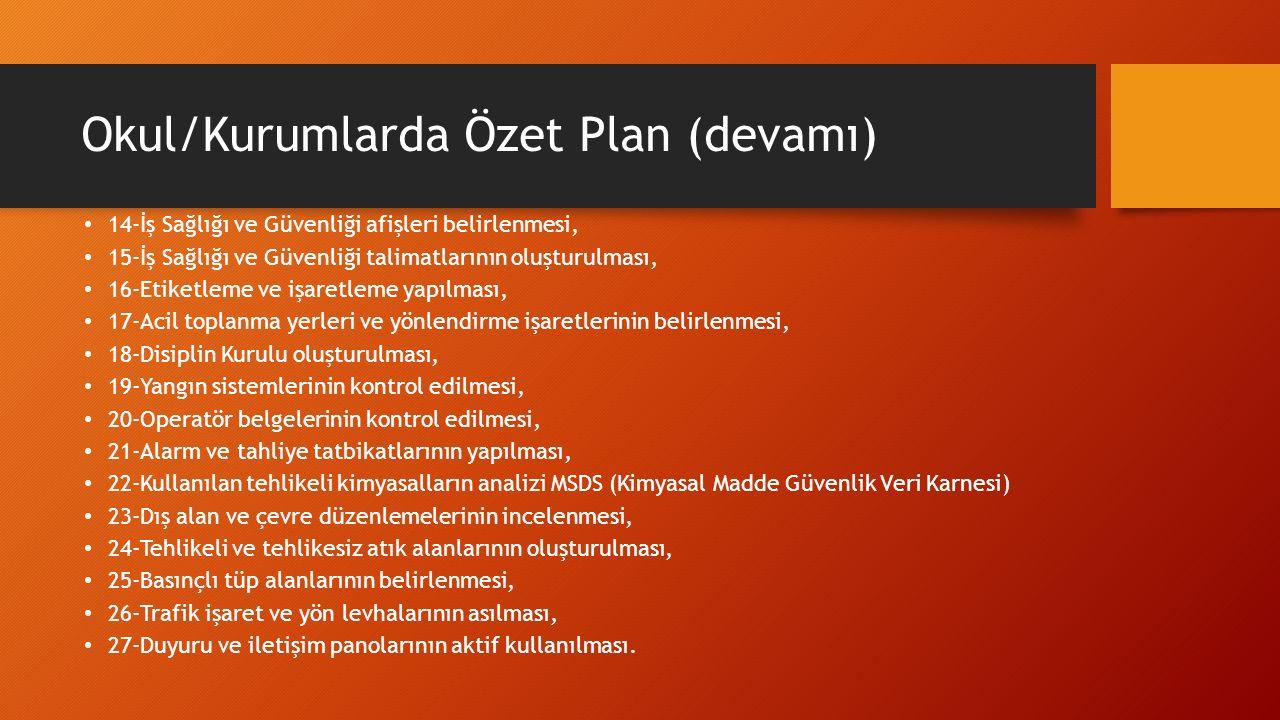 Okul/Kurumlarda Özet Plan (devamı)