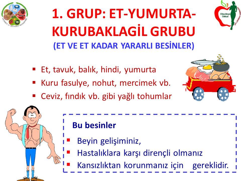 1. GRUP: ET-YUMURTA-KURUBAKLAGİL GRUBU (ET VE ET KADAR YARARLI BESİNLER)